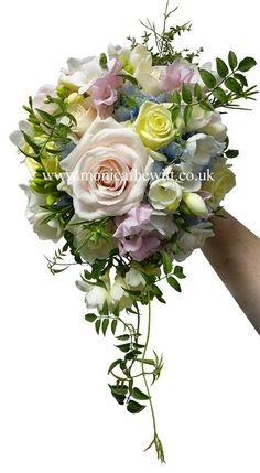 Rose Freesia Hydrangea Jasmin Pink Ivory Blue hand tied Wedding Bouquet with Trail Monica F Hewitt Florist Sheffield