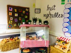 Farm shop role play area to compliment our mud topic! Fun Snacks For Kids, Dinner Recipes For Kids, Kids Meals, Role Play Areas, Vegetarian Bean Chili, Crockpot Spaghetti And Meatballs, Yellow Summer Squash, Black Bean Veggie Burger, Farm Shop