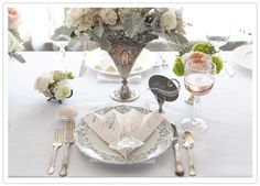 Art Deco table setting - I like the idea of vintage silver vessels (assorted tea set pieces, perhaps) as vases for the centrepieces. Would be really striking with all of the the candlelight and black candelabras & lanterns. Great Gatsby Wedding, 1920s Wedding, Wedding Shoot, Our Wedding, Wedding Stuff, Dream Wedding, Art Deco Wedding Theme, Wedding Reception Decorations, Hall Decorations