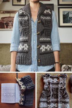 Cowichan-style Knitalong — the WINNERS - Fringe Association Knitting Designs, Knitting Patterns, Cowichan Sweater, Unique Backpacks, Hand Printed Fabric, Templer, Knit Vest, Knit Crochet, Crochet Sweaters