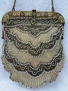 19th C.  French Glass Micro Seed Beaded Scallop Purse Handbag Handmade in France