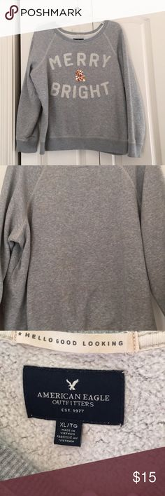 American Eagle sweater Ok so this sweater is so cute and COMFY it's one of my favorites! The only reason why I am selling it is because it's too big on me.  It's in PERFECT CONDITION no signs of wear and tear at all! American Eagle Outfitters Sweaters Crew & Scoop Necks