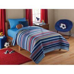 Mainstays Kids Boy Stripe Quilt - Walmart.com