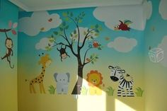 Colorful and beautiful sea animals wall murals in kids - Murales infantiles ...