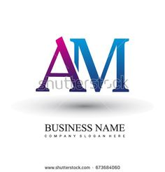 initial letter logo AM colored red and blue, Vector logo design template elements for your business or company identity.