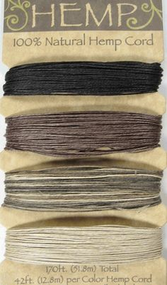 Natural Hemp 10lb Cord 126ft of each color ( Earth Tones )