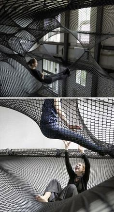 Is it a trampoline? Is it a hammock? whatever it is, I want one :) Net Installation consists of multiple layers of flexible nets suspended in the air, creating a floating landscape open for visitors to climb in and explore. By Numen. Interior Architecture, Interior And Exterior, Hidden Rooms, Hidden House, Dezeen, Cool Rooms, Awesome Bedrooms, House Goals, Dream Rooms