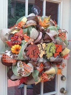 Fall Leaf Wreath, Fall Wreath, Deco Mesh, Burlap, Door Wreath, Home Decor, Poly Mesh Wreath