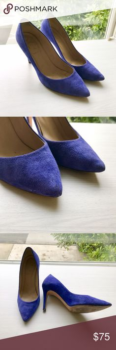 """J. Crew Cobalt Blue Suede Pointed Toe Heels Work week chic! These blue suede heels have earned so many compliments. Still in fairly good shape. Bright cobalt blue contrasts beautifully with burgundy, plum, black, or even a pop of orange or yellow! Run a tiny bit small.  DETAILS: Narrow across toe; those with wider feet may want to size up. Suede upper. Leather lining and sole. 3 1/2"""" heel. Made in Italy. J. Crew Shoes Heels"""
