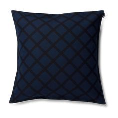 Designed by Carina Seth-Andersson this linen blend cushion cover has a classic look with a black grid on a background of dark blue. The cushion has a bordered e Marimekko Bedding, Pillow Shams, Duvet, Scandinavia Design, Make Your Bed, Quilted Pillow, Pillow Talk, Cushion Covers, Classic Looks