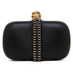 Alexander McQueen Leather Classic Skull Box Clutch in Black ($1,495) ❤ liked on Polyvore