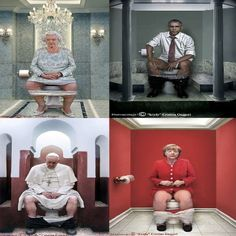 "The Italian painter Karydy displayed the world leaders on ""The Throne"":) Best Pictures Ever, Cool Pictures, Funny Pictures, Funny Toilet Signs, Toilet Art, Satirical Illustrations, Popular Actresses, Diy Crystals, Italian Painters"