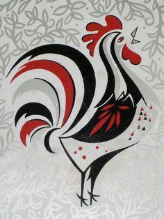 Vintage Metal Rooster Tray. $15.00, via Etsy.