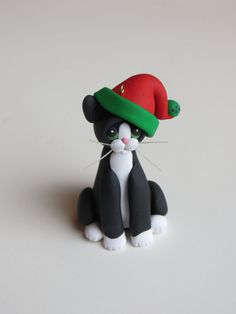 Polymer Clay Christmas Ornaments | Polymer Clay Christmas Ornament Tuxedo Cat Personalized Figurine