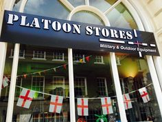 St Georges day flags in the window 2015