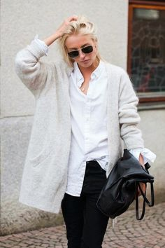 Love this cozy cardigan and white shirt
