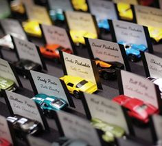 Great idea- sports cars for name place cards! Espicaly if it is a party that is associated with cars or for men! 70th Birthday Parties, 50th Birthday Party, Man Birthday, Birthday Ideas, Baby Shower, Sports Wedding, Milestone Birthdays, Wedding Place Cards, Party Planning
