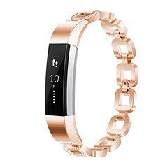 Fitbit Alta HR And Alta Bracelet Metal Wristband Strap Replacement Bling-Silver