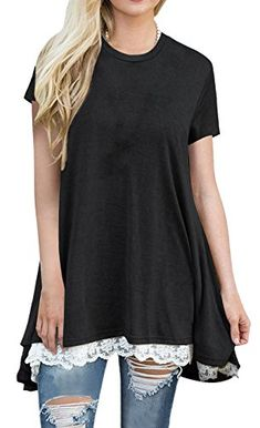 6fc6b1d93a89 Anicco Womens Short Sleeve Casual Round Neck Loose A-Line Lace Tunic Top  Blouse T-Shirt