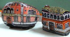 Sassi dipinti a mano casette per il presepe