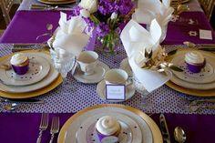 Pretty purple bat mitzvah tablescape
