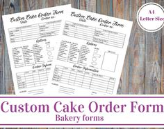 Cake Order Form Template  Bakery Business    Order