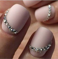 Opting for bright colours or intricate nail art isn't a must anymore. This year, nude nail designs are becoming a trend. Here are some nude nail designs. Swarovski Nails, Rhinestone Nails, Swarovski Crystals, Bride Nails, Wedding Nails, Fabulous Nails, Gorgeous Nails, Matte Nails, Gel Nails