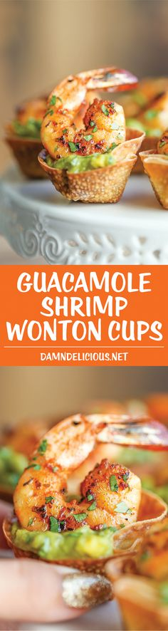 Guacamole Shrimp Wonton Cups - Crisp wonton cups filled with guacamole and cajun grilled shrimp. A quick and easy appetizer sure to impress everyone! (quick appetisers with bread) Snacks Für Party, Appetizers For Party, Appetizer Recipes, Seafood Appetizers, Vegetable Appetizers, Asian Appetizers, Chicken Appetizers, Shrimp Wonton, Grilled Shrimp