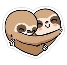 cute sloth Sloth Heart, very slow and warm love ;) / if You are interested, here are sloth stickers for imessage ( with this Sloth Heart:) : / Millions of unique designs by independent ar Kawaii Stickers, Laptop Stickers, Cute Stickers, Baby Sloth, Cute Sloth, Printable Stickers, Planner Stickers, Sloth Drawing, Bubble Stickers
