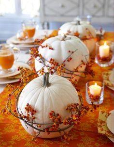 #fall DIY decor: White pumpkins encircled by bittersweet vine and set along an orange table runner create a striking table arrangement.