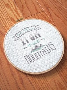 Mountains - modern cross stitch pattern - Typography Inspired - PDF format - instantly downloadable