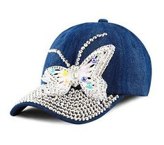 19b25d944fb Bling Rhinestone Butterfly Washed Denim Cap Washed Denim