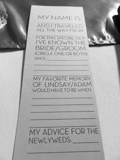 I think this is really cute to have at the reception for a guestbook!  And then I will have the engagement photo guestbook at the wedding itself! DIY Wedding guestbook idea.  Then collect all of them and put them in a binder!