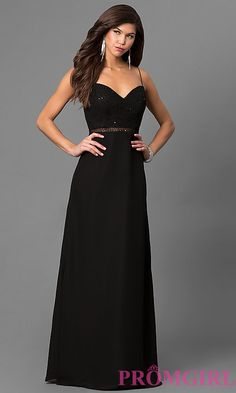 Long Black Prom Dress with Sequin Sweetheart Bodice