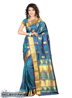 #Blue,#Golden #Kanchipuram #Silk #Saree #nikvik  #usa #designer #australia #canada #freeshipping #saris