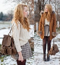 Winter skirt look Fall Winter Outfits, Autumn Winter Fashion, Lace Up Heel Boots, Heeled Boots, Winter Stil, Winter Looks, Cute Outfits, Fashion Outfits, Fashion Ideas