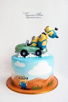 minions flying on retro car