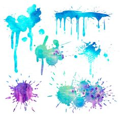 30 paint splashes blotches watercolor, digital clip art 300 dpi (EPS, PNG file) Strokes Design blog Elements, poster, Art Print EasyPrintPD