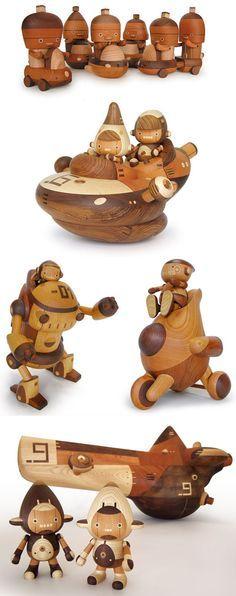 meticulously detailed wooden figures by Takeji (Take-G) Nakagawa