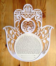 Papercut Ketubah Hamsa With Jerusalem http://www.etsy.com/listing/164901073/papercut-ketubah-hamsa-with-jerusalem