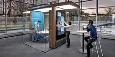 Irys is an innovative concept of Prefabricated modular glass partition for modern office spaces. Irys pods are equipped with lighting, HVAC and electrical facilities, storage and multimedia. Bureau Design, Office Pods, Glass Partition, Sound Proofing, Building, Modern, Furniture, Design Offices, Home Decor