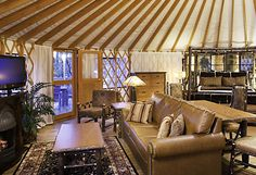 just the right amount of space...yurt living...