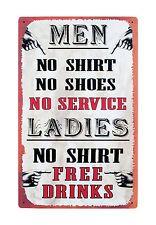 No Shirt No Shoes No Service Funny Man Cave Tin 16 Inch Sign Wall Decor