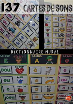 Des cartes de sons pour dictionnaire mural. Cette ressource comprend aussi des pages d'activités complètes. Teaching Reading, Fun Learning, Teaching French Immersion, Read In French, French Teaching Resources, French Education, Phonics Words, Core French, French Classroom