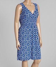 Another great find on #zulily! Blue & White Ikat Surplice Dress - Plus #zulilyfinds