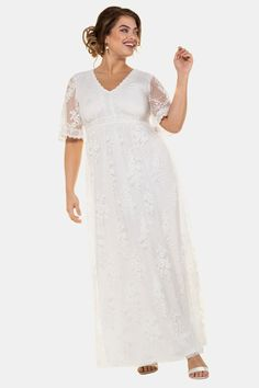 Ulla Popken Brautkleid '747205' in weiß | ABOUT YOU Saved Items, Occasion Dresses, Lace Trim, What To Wear, Cold Shoulder Dress, White Dress, Plus Size, Wedding Dresses, Dresses Dresses