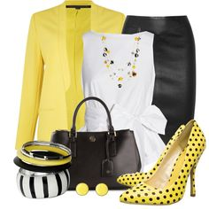 """Dots of Yellow"" by justbeccuz on Polyvore"
