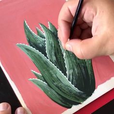 This is a gouache painting of an Aloe Vera plant by Philip Boelter. Have you ever tried painting with gouache? It's similar to watercolor, but gouache it's m. Cute Canvas Paintings, Small Canvas Art, Black Canvas Art, Simple Canvas Paintings, Canvas Painting Tutorials, Diy Canvas Art, Painting Videos, Aloe Vera, Art Sketches