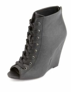 lace-up peep toe wedge bootie