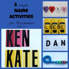 Teach your preschoolers to spell their name with 5 Simple Name Activities.